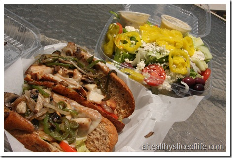 Mellow Mushroom Hoagie and Greek Salad