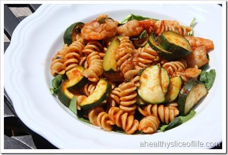 Shrimp spinach zucchini and basil pasta