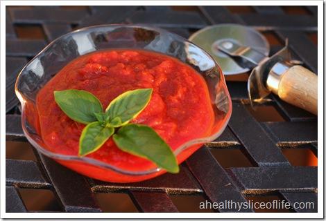 pizza sauce and basil