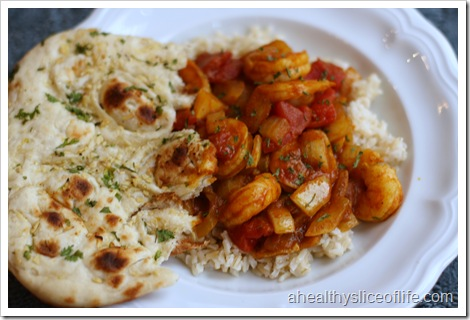 garlic naan and shrimp vindaloo
