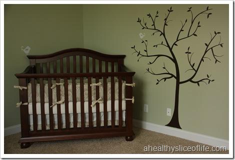 nursery crib and tree decal