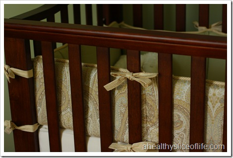 nursery paisley and gigham bedding