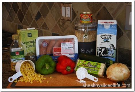 Veggie Turkey Sausage and Rice Casserole Ingredients
