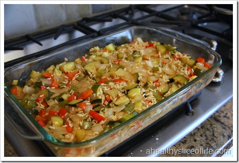 cooked veggies and brown rice