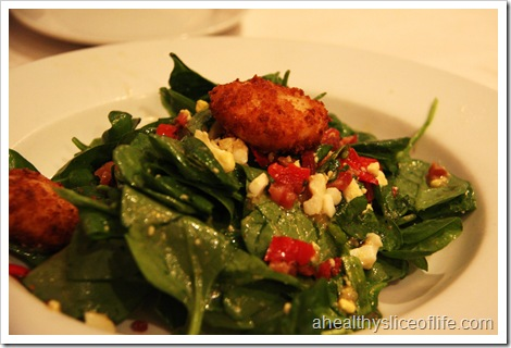 fried goat cheese nugget spinach salad