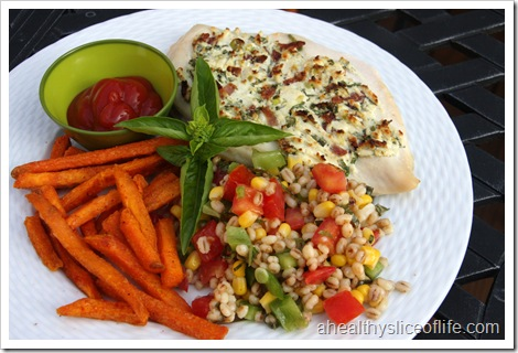 goat cheese chicken, sweet potato fries and summer barley salad