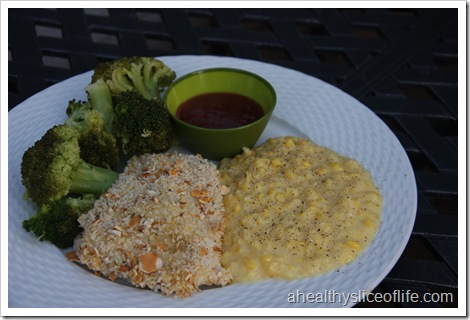 oven fried chicken, creamed corn and broccoli