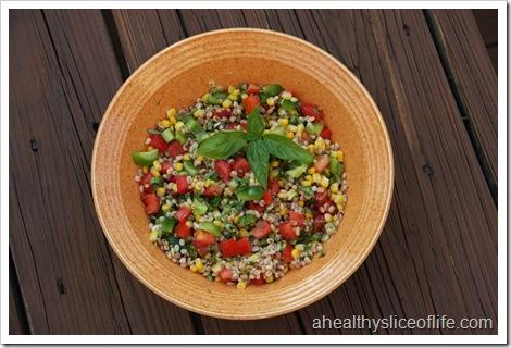 summer vegetable and barley salad whole bowl