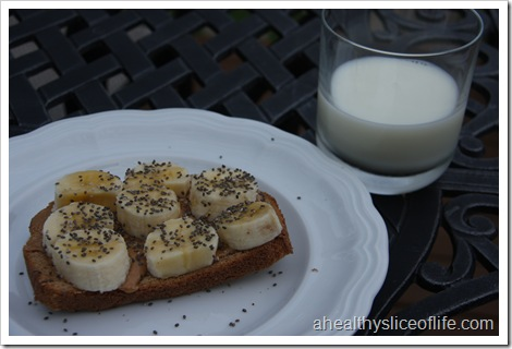 toast, peanut butter, banana and chia seeds