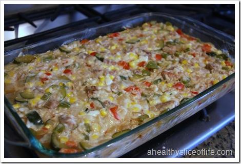 veggie brown rice and sausage casserole