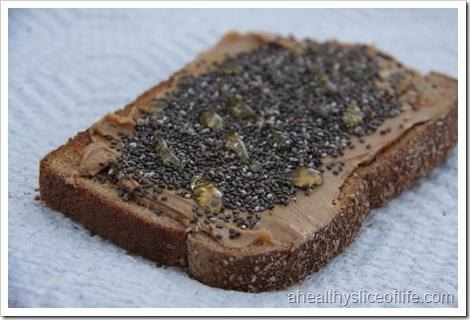Wheat Toast with PB, chia and honey