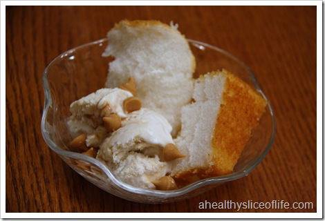 angel food cake, caramel swirl ice cream and peanut butter chips