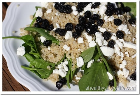 spinach quinoa blueberries goat cheese