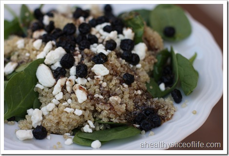 spinach quinoa blueberries goat cheese with Newmans