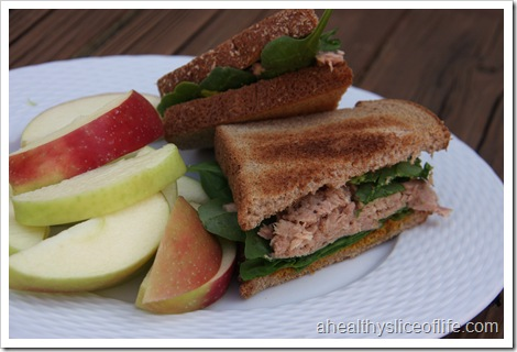 tuna and spinach sandwich with apple