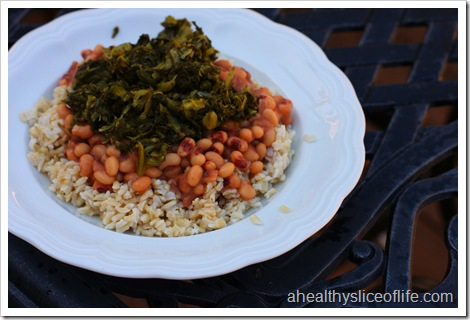 rice beans and greens
