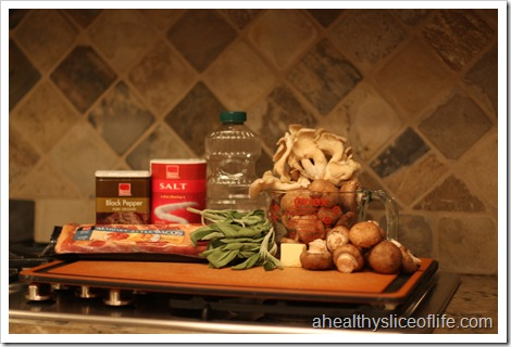 sauteed mushrooms with carmelized shallots - ingredients
