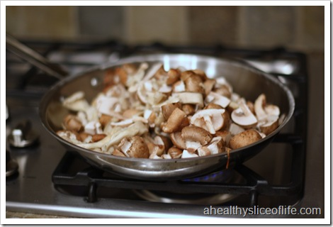 sauteed mushrooms with carmelized shallots - mushrooms in pan