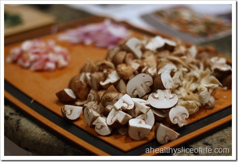 sauteed mushrooms with carmelized shallots -prepped mushrooms