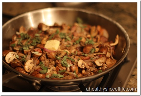 sauteed mushrooms with carmelized shallots - sage and butter