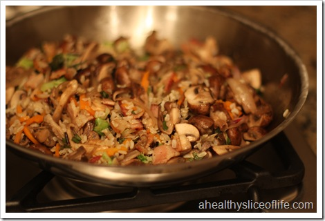 sauteed mushrooms with carmelized shallots - with rice