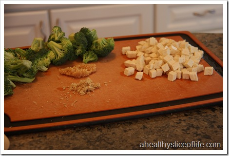 Eating Well Tofu and Broccoli Stir-fry- prepped garlic, tofu and ginger