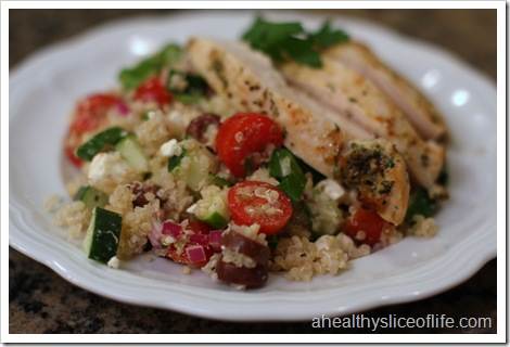 greek quinoa salad with baked chicken