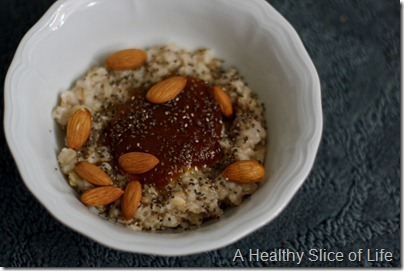 oats with pumpkin butter almonds and chia