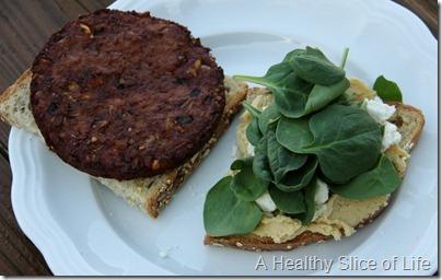 hummus and black bean sandwich