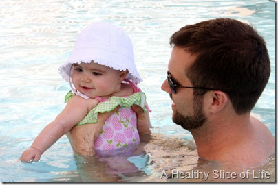 Hailey and daddy at pool