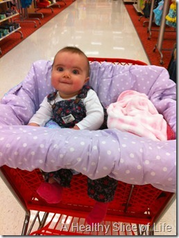 Hailey sits in cart