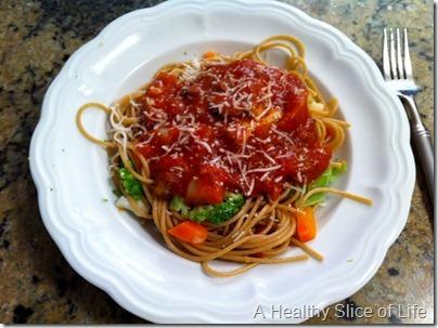 pasta veggies and sauce