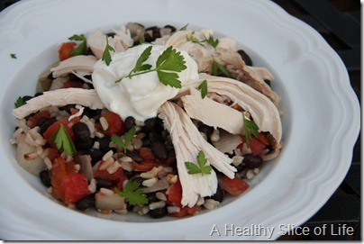 spicy black beans and Mexican rice