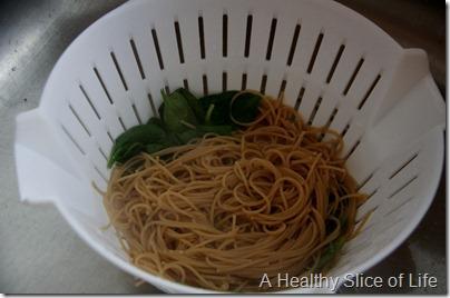 wilt spinach in pasta trick