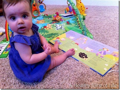 7 months old- reading books