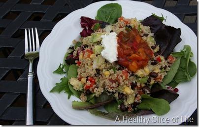 Mexican quinoa salad on greens