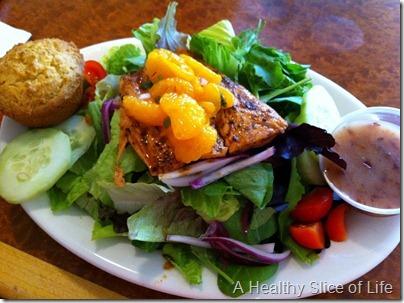 Paleo Eating- salmon salad no corn muffin BluStar Grill
