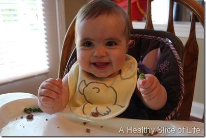 baby led weaning- enjoying peas