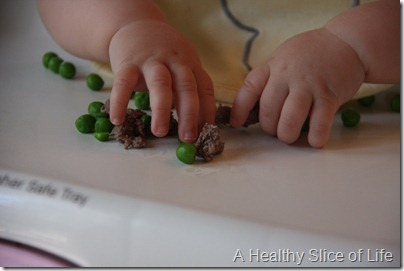 baby led weaning- ground beef and peas