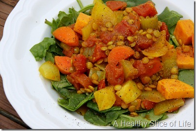 indian spiced veggies and lentils