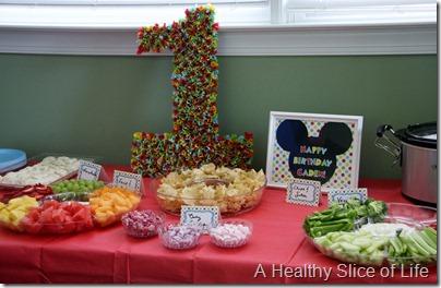 Caden's 1st birthday- food table