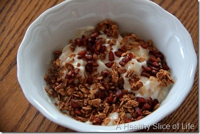 WIAW- chobani pom seeds Love Grown granola