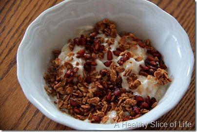 WIAW- chobani pom seeds Love Grown granola