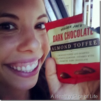 WIAW- Trader Joe's Dark Chocolate almond toffee