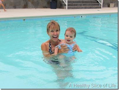 hailey and nana in pool