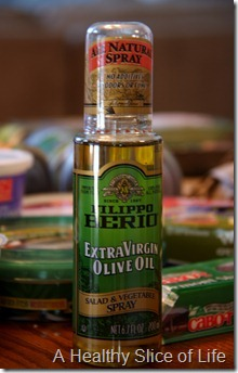 restocking the fridge- EVOO spray