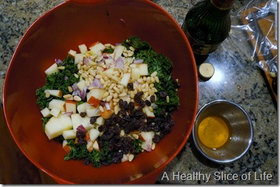 WIAW- kale and fruit salad- mix