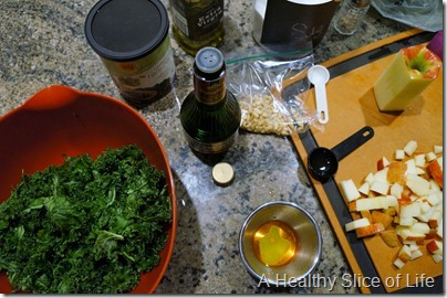 WIAW- kale and fruit salad- prep