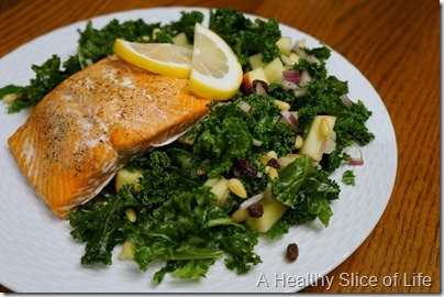 WIAW- kale and fruit salad- with salmon