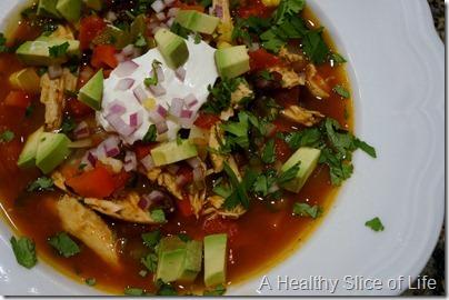 chicken tortilla soup- close up
